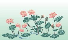 Японский пруд (трафарет для декора)