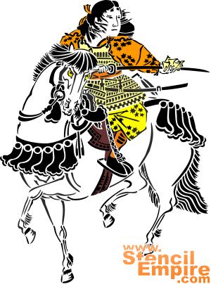 Воин на лошади (трафарет для декора)