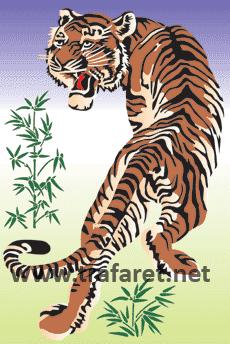 Японский тигр (художественный трафарет)