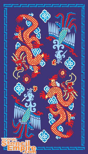 Дракон и Феникс (трафарет для декора)