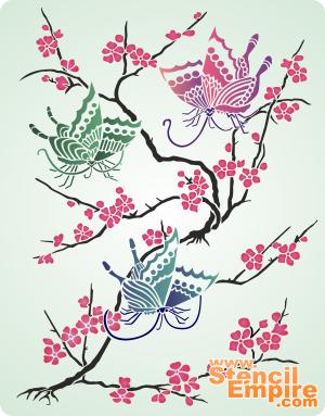 Сакура и бабочки (трафарет для покраски)