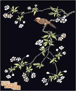 Птичка на сакуре (художественный трафарет)
