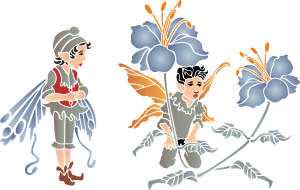 Пугливые эльфы (трафарет для покраски)