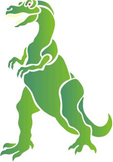Зеленый динозавр (трафарет для стен)