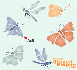 Бабочки и стрекозы (трафарет для росписи)