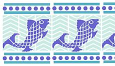 Мозаика с рыбами (трафарет для декора)