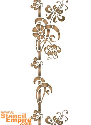 Цветы и вишни А (трафарет для рисования)