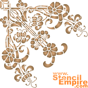 Цветы и вишни В (художественный трафарет)