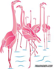 Розовые фламинго (трафарет для декора)