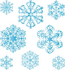 Восемь снежинок V (трафарет для стен)