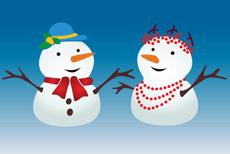 Снежный дуэт (трафарет для рисования)