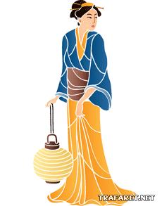 Гейша с лампой (трафарет для покраски)