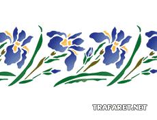 Восточный ирисовый бордюр (трафарет для декора)