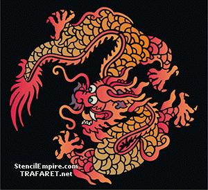 Трафарет Восточный китайский дракон