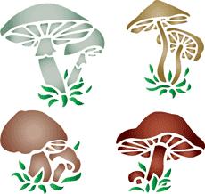 Разные грибы (трафарет для стен)