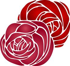 Две розы (трафарет для рисования)
