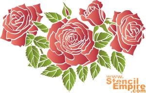 Алые розы 2 (трафарет для рисования)