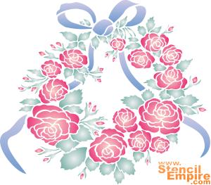 Медальон из роз и лент (трафарет для росписи)