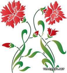 Красные гвоздики (художественный трафарет)