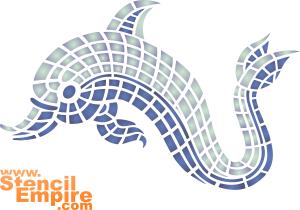Моззаичный дельфин (трафарет для декора)