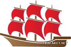 Кораблик 08 (трафарет для рисования)