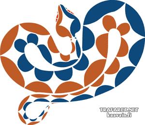 Цветная кобра 02 (трафарет для рисования)