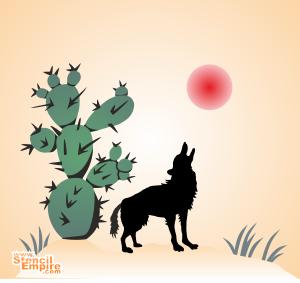 Койот и кактус (трафарет для покраски)