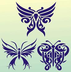 Бабочки тату 04 (трафарет для рисования)