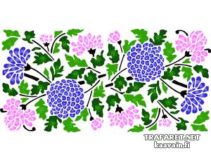 Мотив из хризантем (трафарет для покраски)