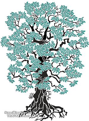 Большой дуб (художественный трафарет)