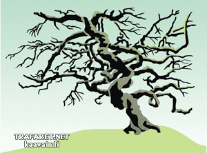 Кряжистое дерево (трафарет для рисования)