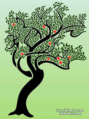 Трафарет для декора Оранжевое дерево модерн
