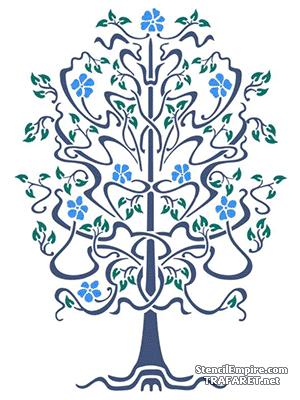 Трафарет для декора Цветущее дерево модерн