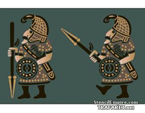 Трафарет Два воина