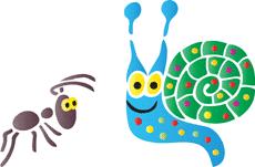 Улитка и муравей (трафарет для покраски)