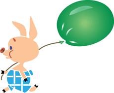 Пятачок и шарик (трафарет для росписи)
