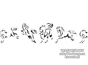 Трафарет Бордюр четыре лошади
