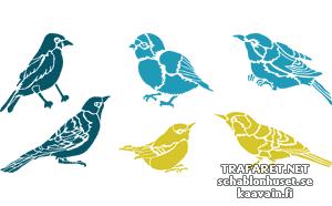 Трафареты Шесть птичек