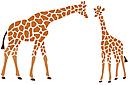 Два жирафа (трафарет, малая картинка)