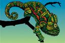 Изумрудный хамелеон (трафарет, малая картинка)