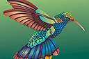 Птичка Колибри с хвостом