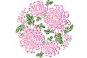 Медальон китайских хризантем 2 (трафарет, малая картинка)