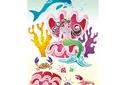 Дельфин и русалка (трафарет, малая картинка)