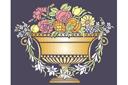 Ваза с фруктами и цветами (трафарет, малая картинка)