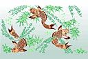 Японские рыбы (трафарет, малая картинка)