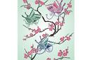 Сакура и бабочки (трафарет, малая картинка)