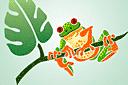 Лягушка на ветке 2 (трафарет, малая картинка)