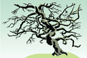 Кряжистое дерево (трафарет, малая картинка)
