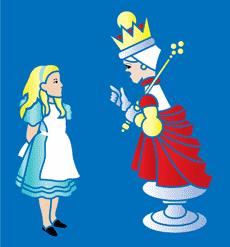 Алиса и Королева (трафарет, малая картинка)