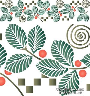 Трафарет бордюра Листья и ягоды в стиле модерн